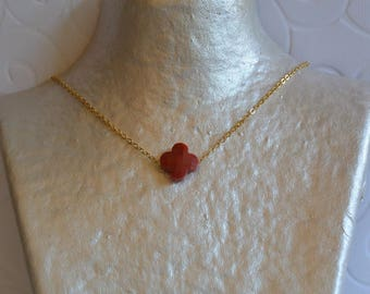 Brick red clover necklace and gold chain
