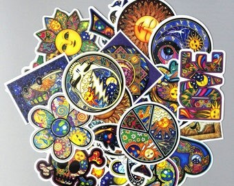 Sun And Moon Pack Stickers (x25) - Vinyl - Colourful Sticker - Hot Color - Sun Sticker - Love Peace Sticker - Lifestyle Sticker - Peaceful