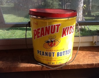 Peanut Butter Pail The Peanut Kids Antique 1950's Advertising Tin Bucket