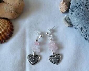 Rose quartz chip earrings