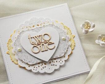 Handmade Wedding Invitations, grey wedding invitation, flower wedding invitation (KWTWO1) two become one, christian wedding invitation