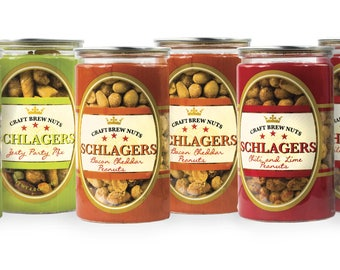 Schlagers  Variety Set of Bacon Cheddar Peanuts, Chili Lime Peanuts & Party Mix 37.6oz (Pack of 6)
