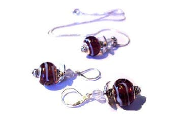 Woman set necklace and earrings murano glass beads