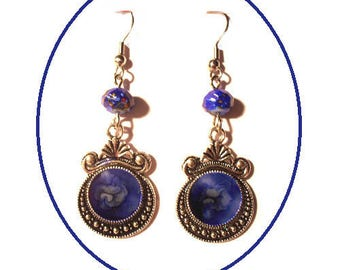 Shades of blue flat cabochons earrings