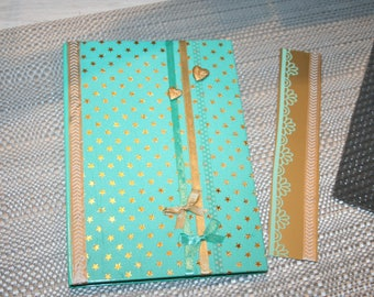 NEW! notebook and its Green and gold stars Cookbook bookmark