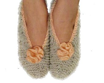 Woman slippers, slippers, bed slippers, wool, knitted, grey, pink