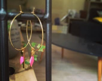Earrings with pink feathers 35 mm bohogirly