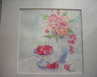 watercolor flowers and fruits: cherries Cup and the bouquet of flowers