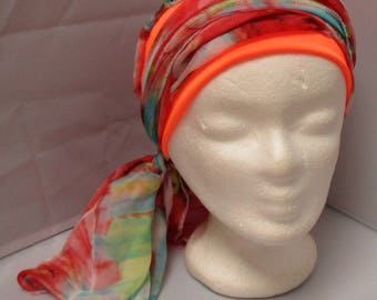 Turban tie preformed - scarf - Hat - Hat - chemo red headband and Turquoise on an orange headband in very
