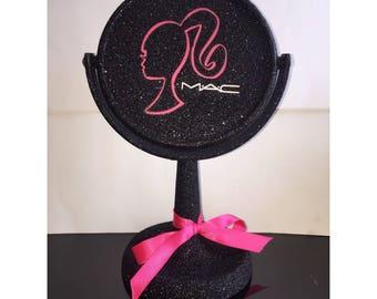 Makeup Mirror - Barbie Mirror- Desktop Round Mirror- Black Round Makeup Mirror- Vintage Barbie