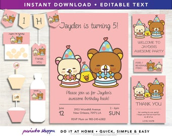 Rilakkuma Bear Birthday Party Printables - INSTANT DOWNLOAD - Fully EDITABLE text