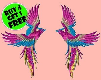Phoenix Patches Wings Patch Iron On Patch Embroidered Patch Magical Mystical