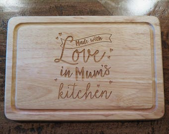 Personalised 'Made With Love' chopping board