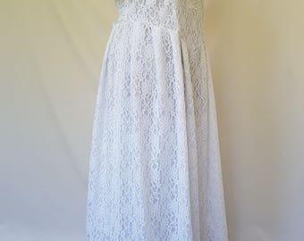 Plus size romantic white wedding dress, Maternity wedding gown, Basque waistline wedding dress, Vintage inspired beach wedding dress