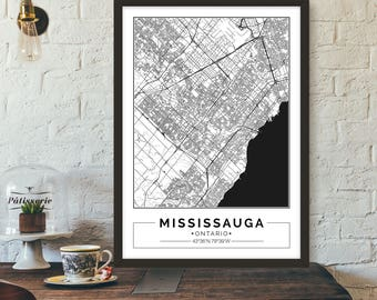 Mississauga, Ontario, Canada, City map, Poster, Printable, Print, Street map, Wall art