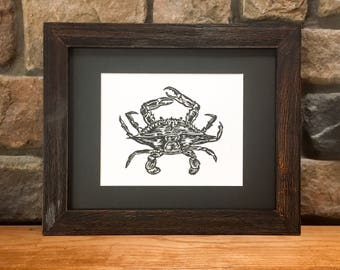 Maryland blue crab, Hand carved, Original linocut print, Crab linoleum cut