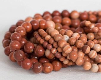 "High Quality Grade A Natural Red Malachite Semi-precious Gemstone Round Beads - 4mm, 6mm, 8mm sizes - 16"" strand"