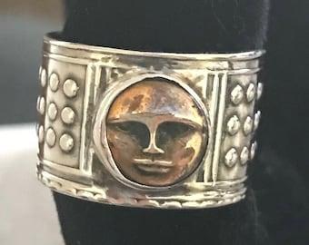 Sterling Copper Face Full Moon Ring