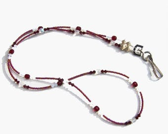 Red Garnet White Opal Crystal Beaded Lanyard
