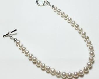 Cream Pink Pearls Wedding Bridal Bracelet