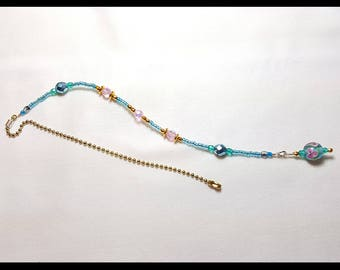 Sky Blue and Pink Sparkling Crystal Beaded Fan Pull