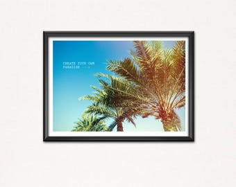 Make Your own paradise-bird of paradise-poster image-Art print-palms-wood-sunshine-water-surfing-Beach beach-