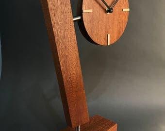 Wooden Mahogany And Steel Clock