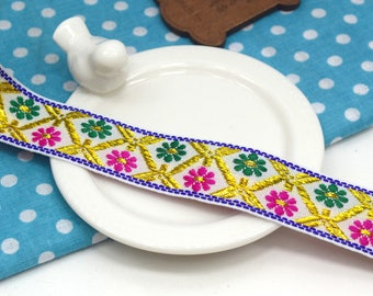 1.85 yards Ribbon trim embroidered ethnic glittery Gold White Green fuchsia flower 2.3 cm