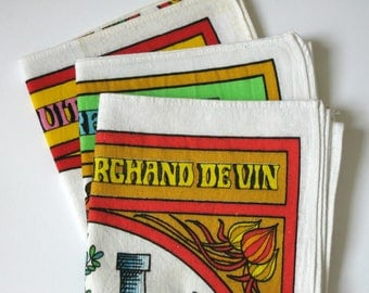 3 french vintage Préfontaines kitchen towels