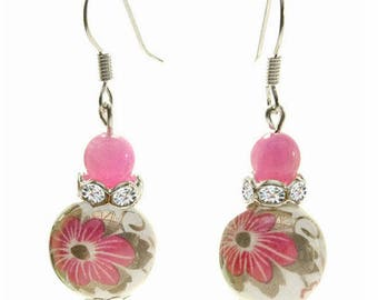 Women earrings dangling white porcelain with flowers pink Crystal and small stone