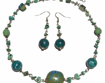Woman necklace Ras neck earings resin terracotta shades turquoise gemstones earrings