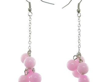 Earrings dangling lognues clusters of pink tenderness stone chain silver