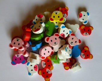 WHOLESALE lot set of 48 Pooh bear animal multicolored wooden beads