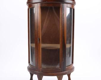 Vintage Miniature Demilune Curio Cabinet