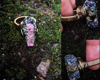 Wire wrapped ruby and zoisite coffin ring