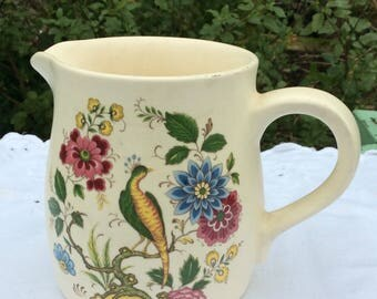 Vintage Purbeck Pottery Jug. Attractive floral design with golden pheasant. Made in Swanage England. Farmhouse Chic