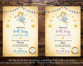 Tooth Fairy Certificates & Letter