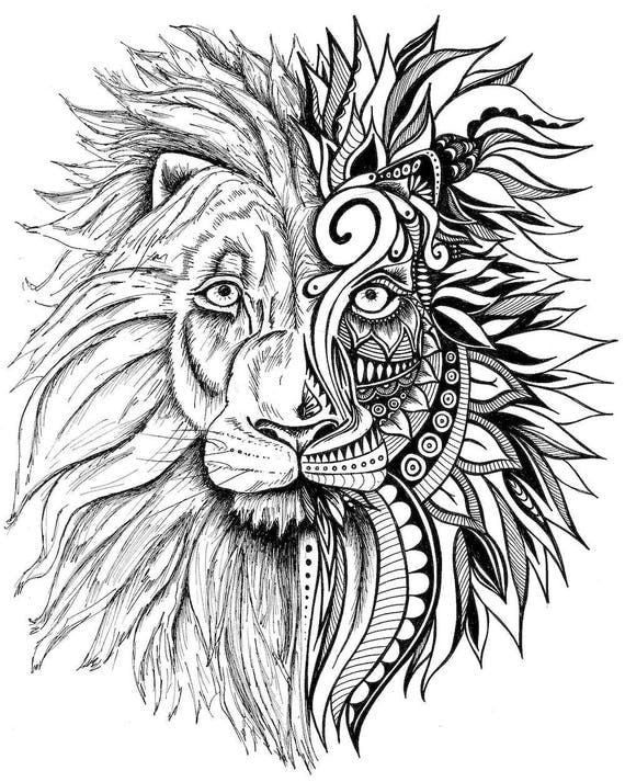 Lion Print Zentangle Art Lion Drawing Art Prints Black and