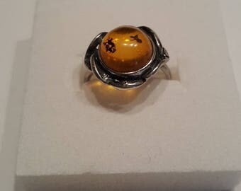 Amber and 925 Silver ring