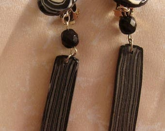 Graphic black and white earrings