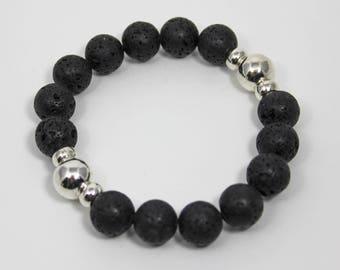Lava Rock Bracelet, Black Stretch Bracelet, Healing Bracelet, Unisex Bracelet, Christmas Gift, Birthday Gift, for Men, Women, and Teens