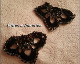 Festive black and gold crochet earrings blue