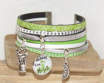 """Lady and her Mojito"" leather, suede and leather Cuff Bracelet sequins, white, green and silver"