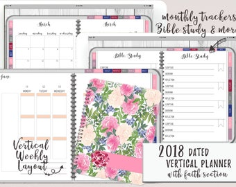 Faith Planner - Watercolor Dated 2018 Digital Planner for iPad Goodnotes | Digital Planner With Functioning Tabs | With Meal/Budget Planning