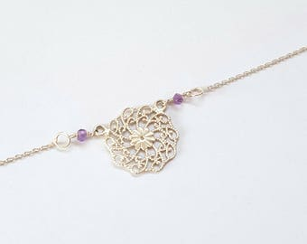 ROSE - 925 Silver necklace with rose and Amethyst gemstones