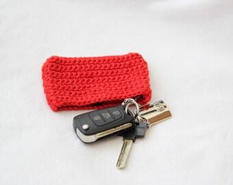Key ring red plain crochet handmade