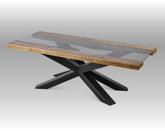 Coffee table, high quality, oak table top with glass element, custom size