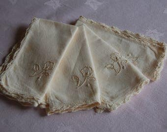Vintage Teatime Napkins with delicate embroidery and crochet