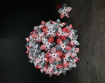 Example 23 origami paper Flower Bouquet with boutonniere black and Red