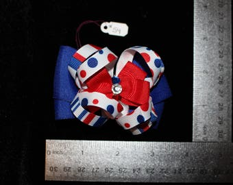 Blue & Red Polka Dot Hair Bow